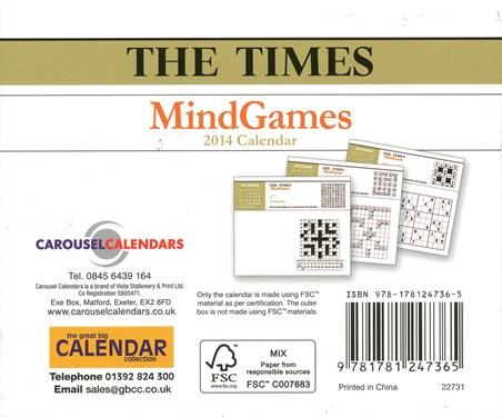 Mind Games, The Times - 2014 Calendar: 13cm x 15.5cm - Buy Online