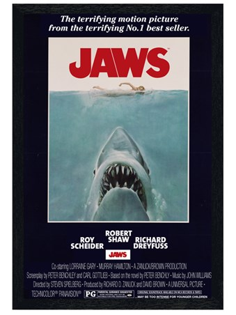 Black Wooden Framed Steven Spielberg's Jaws - Jaws
