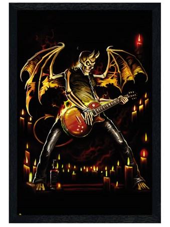 Black Wooden Framed Guitar Hero Framed Poster