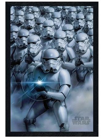 Black Wooden Framed Stormtroopers Attack Framed Poster