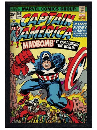 Black Wooden Framed Madbomb! - Captain America