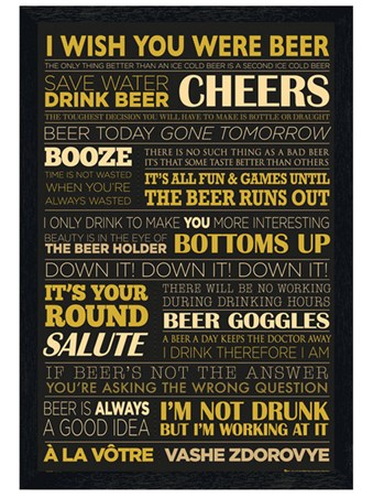 Black Wooden Framed Beer Life Framed Poster