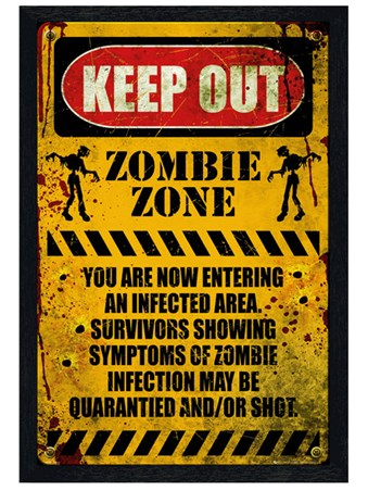Black Wooden Framed Zombie Zone Framed Poster