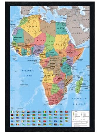 Black Wooden Framed Map Of Africa Framed Poster