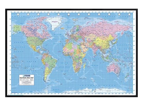 Gloss Black Framed Political World Map - World Map Framed Poster