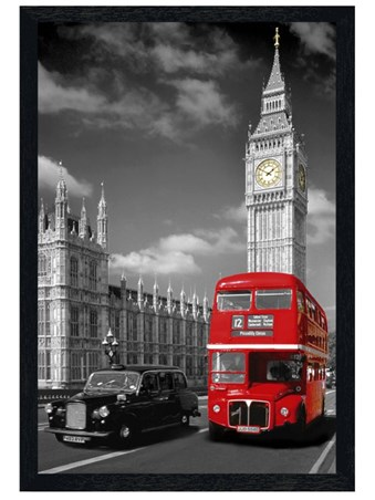 Black Wooden Framed Piccadilly Bus and Black Cab Framed Poster