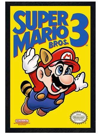 Black Wooden Framed Super Mario Bros 3 Framed Poster