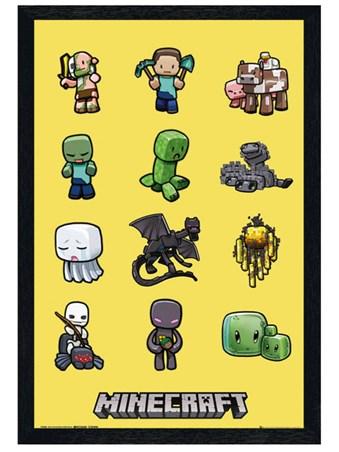 Black Wooden Framed Minecraft Characters Framed Poster