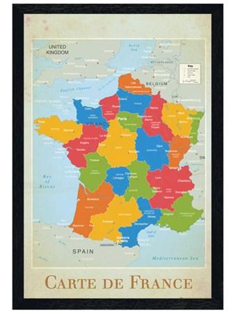 Black Wooden Framed Carte De France Framed Poster
