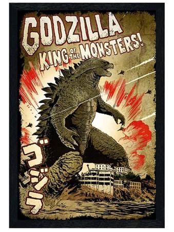 Black Wooden Framed King of the Monsters Framed Poster