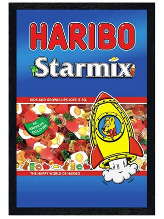 Black Wooden Framed Haribo Starmix Framed Poster