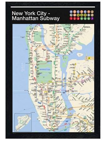 Black Wooden Framed Manhattan Subway Map Framed Poster