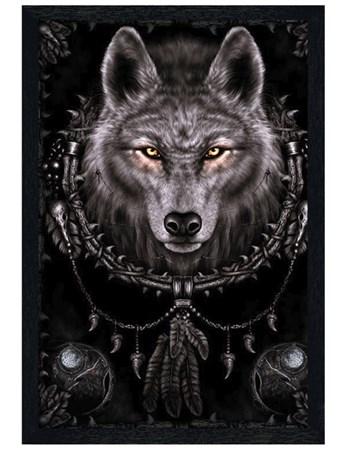 Black Wooden Framed Wolf Dreams Framed Poster
