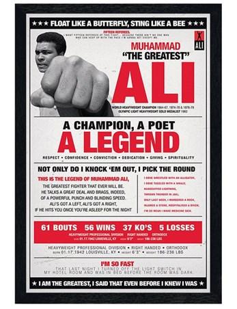 Black Wooden Framed A Champion, A Poet, A Legend Framed Poster