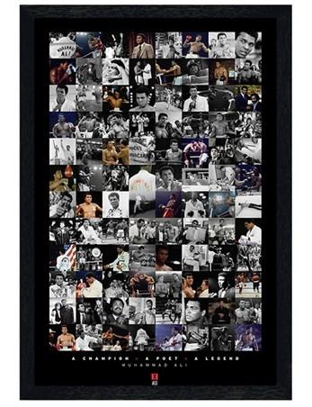 Black Wooden Framed Boxing Legend Compilation Framed Poster