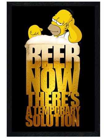 Black Wooden Framed Beer; A Temporary Solution, Homer Simpson Poster ...