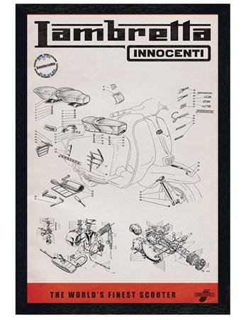 Black Wooden Framed Lambretta Line Drawing Framed Poster
