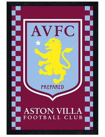 Black Wooden Framed Aston Villa Crest Framed Poster