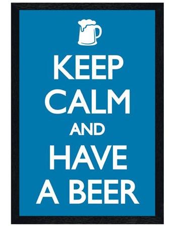 Black Wooden Framed Keep Calm and Have a Beer Framed Poster