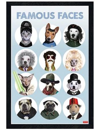Black Wooden Framed Famous Faces Framed Poster