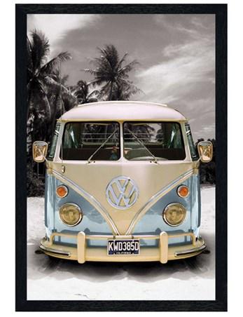 Black Wooden Framed Californian Camper Van Framed Poster