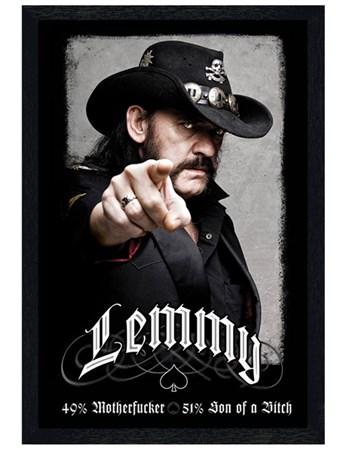 Black Wooden Framed Lemmy Framed Poster