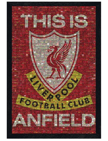 Black Wooden Framed This Is Anfield - Liverpool FC Photomosaic