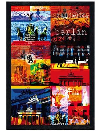 Black Wooden Framed Funky Collage Framed Poster