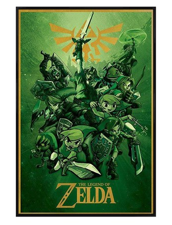 gloss black framed the legend of zelda nintendo poster