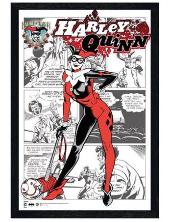 Black Wooden Framed The World Of Harley Quinn Framed Poster