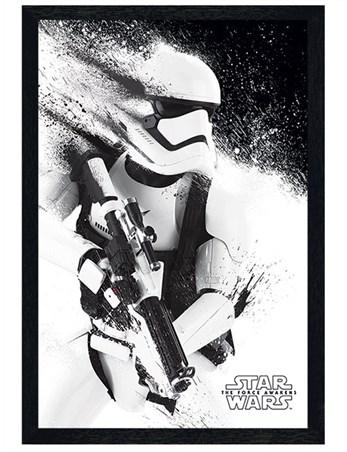 Black Wooden Framed Episode VII Stormtrooper Paint Framed Poster