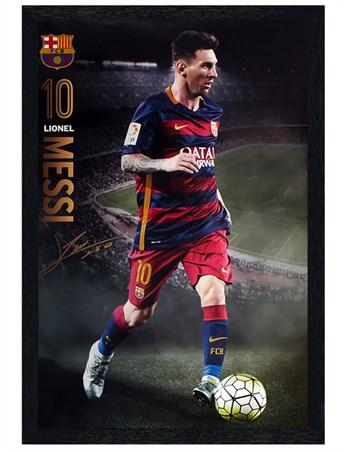 Black Wooden Framed Messi Action 2015/16 Framed Poster
