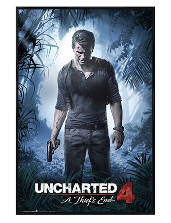 Gloss black framed a thiefs end uncharted 4 poster buy for Complete the mural uncharted 3
