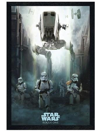 Black Wooden Framed Stormtrooper Patrol Framed Poster