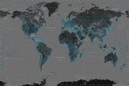 Black World Map Poster Black Blue World Map