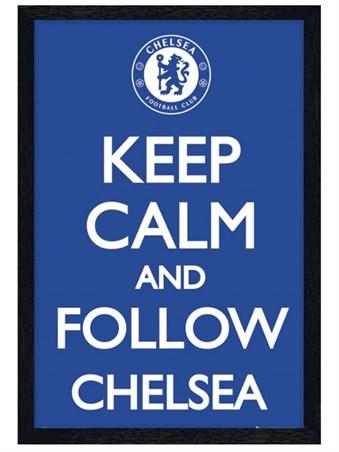Black Wooden Framed Keep Calm and Follow Chelsea Framed Poster