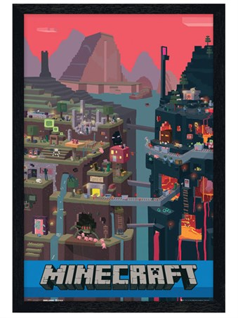 Black Wooden Framed Word Of Minecraft Framed Poster
