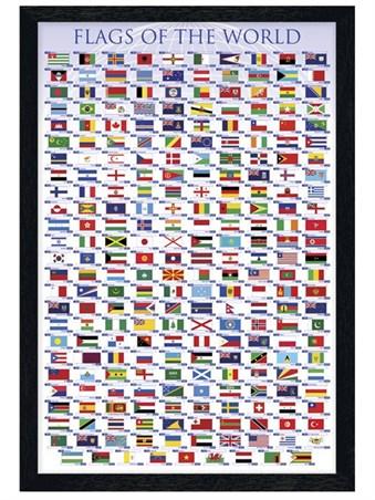 Black Wooden Framed Flags Of The World Framed Poster