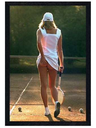 Black Wooden Framed Tennis Girl Framed Poster