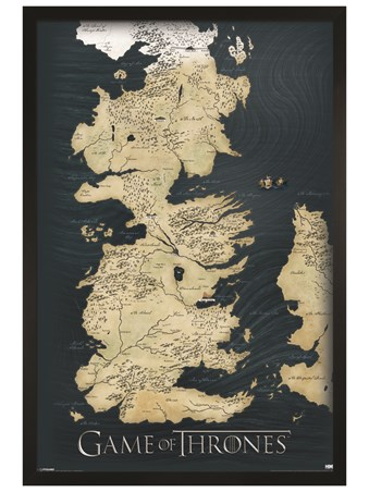Black Wooden Framed The Seven Kingdoms of Westeros Map - Game Of The Thrones