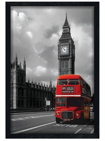 Black Wooden Framed Red Double Decker Bus Framed Poster