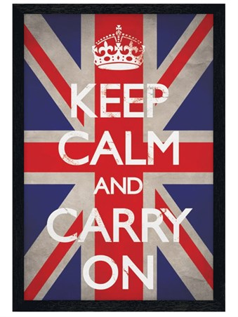 Black Wooden Framed Keep Calm Union Jack Framed Poster