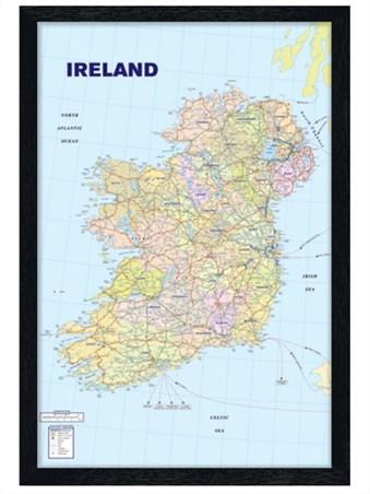 Black Wooden Framed Map of Ireland Framed Poster