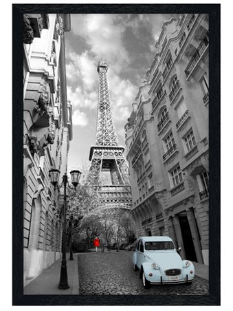 Black Wooden Framed Flashes of Colour in Paris Framed Poster