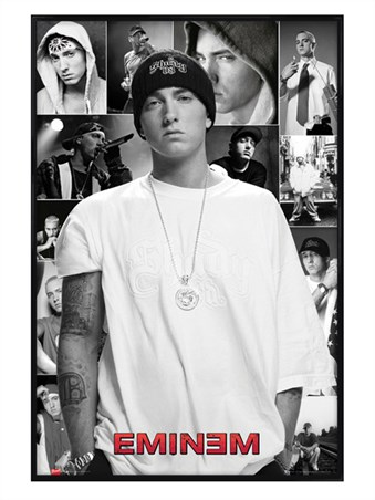Gloss black framed slim shady collage eminem poster buy for Eminem wall mural