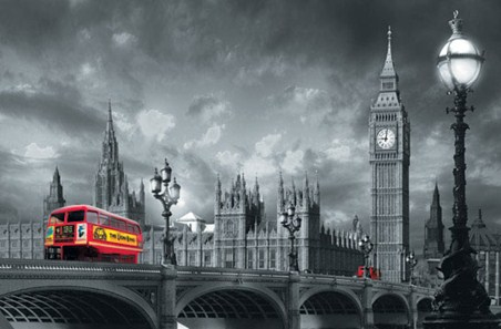 Bus on westminster bridge urban photography popartuk for Black and white london mural wallpaper
