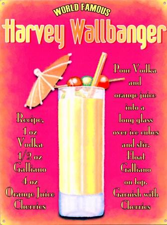 World Famous Harvey Wallbanger, Cocktail Recipe Tin Sign - Buy Online