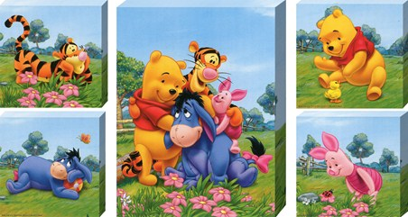 Set of 5 Cute Winnie the Pooh Canvases - Walt Disney's Winnie-the-Pooh