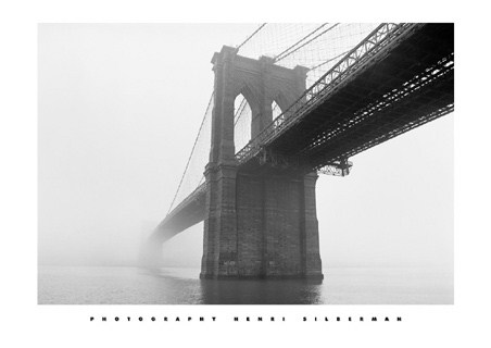 Brooklyn Bridge, New York City, in the Fog - Henri Silberman