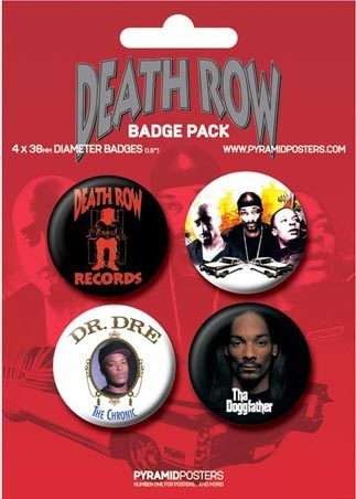 Snoop Doggy Dogg, Dr Dre and other Rap Gods - Death Row Records Button Badge Pack
